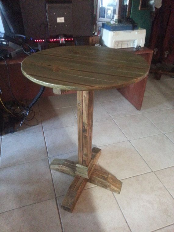 New Reclaimed Wood Pub Table, Round Wood Bar Table