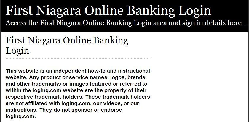 Secure login access the first niagara online banking