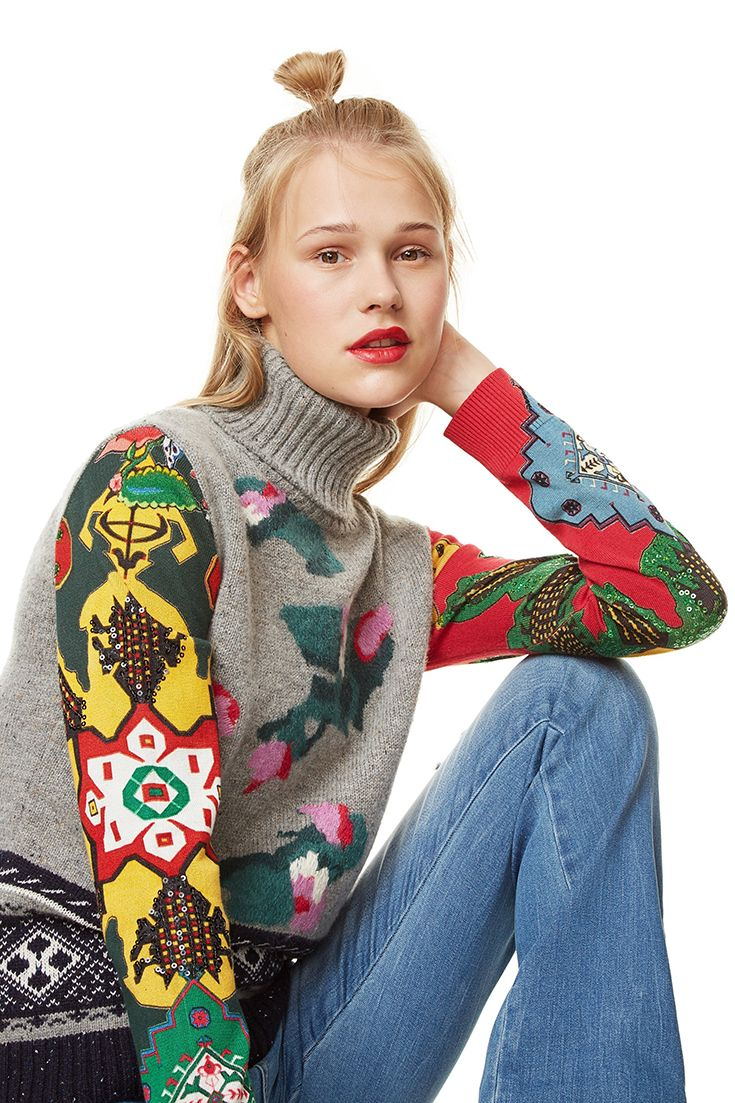 Desigual women s grey high neck sweater with ethnic print fabric on the  sleeves and contrasting details on the chest and hem. 3a30b9815fbf