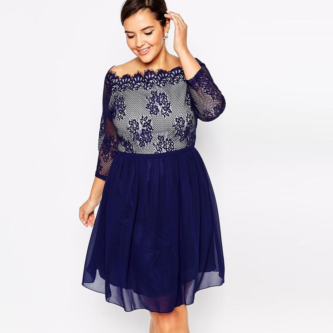 Plus Size Party Dresses with Long Sleeves Lace Chiffon Prom ...