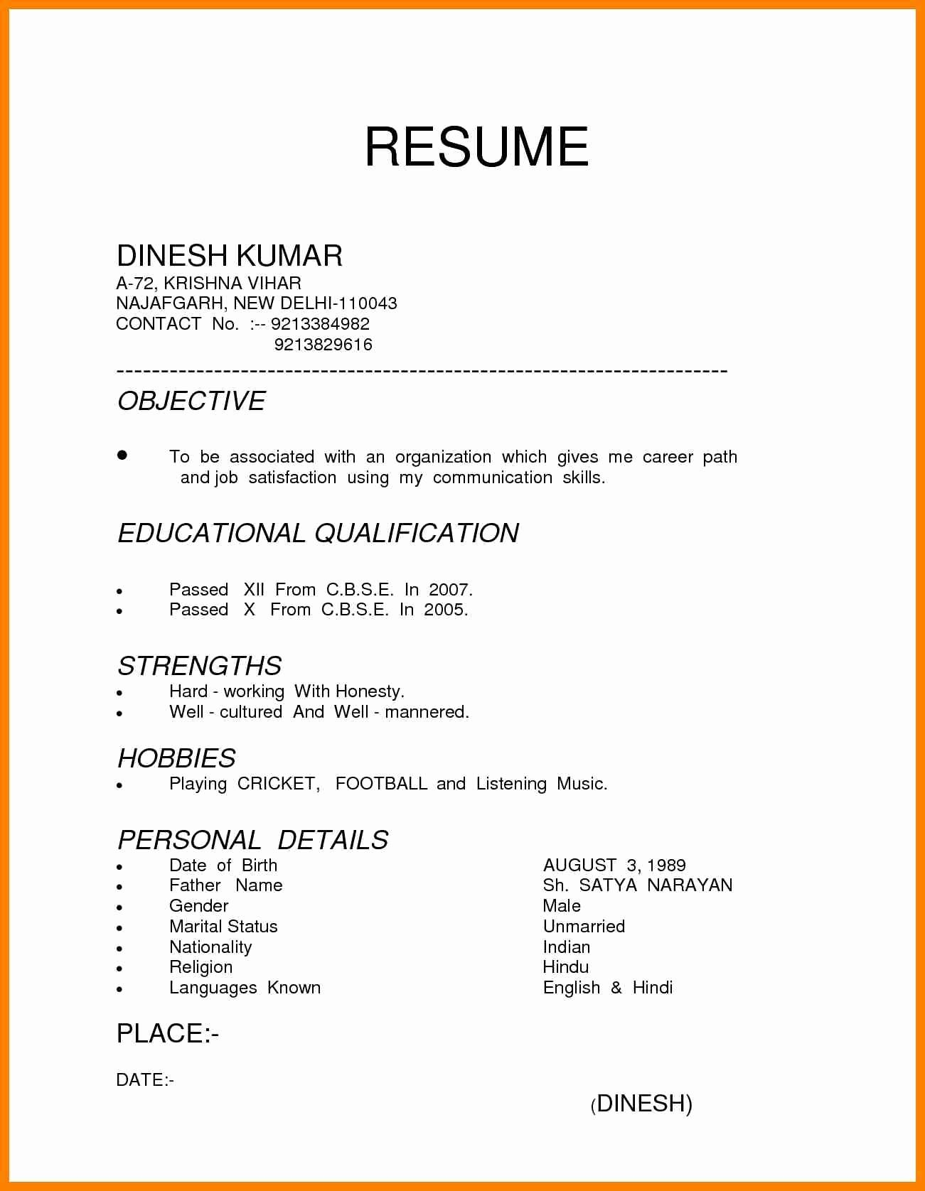 Image result for resume hindi format picture Resume