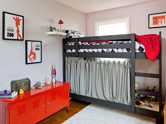 Bedroom, Tween Boy Room Decoration Style With Red Stainless Steel Cabinets  And Loft Bed In Part 49