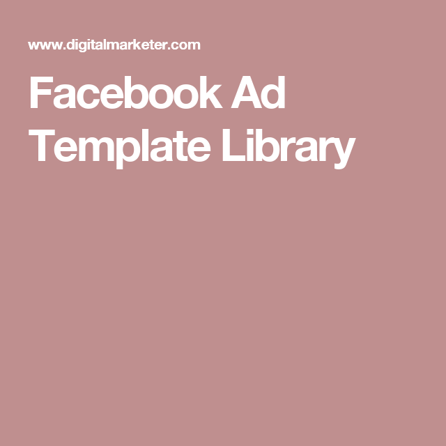 Facebook Ad Template Library Fondant Pinterest Template And Ads