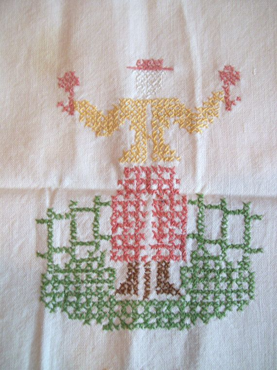Vintage Cross Stitch Hand Towel by jclairep on Etsy, $7.00