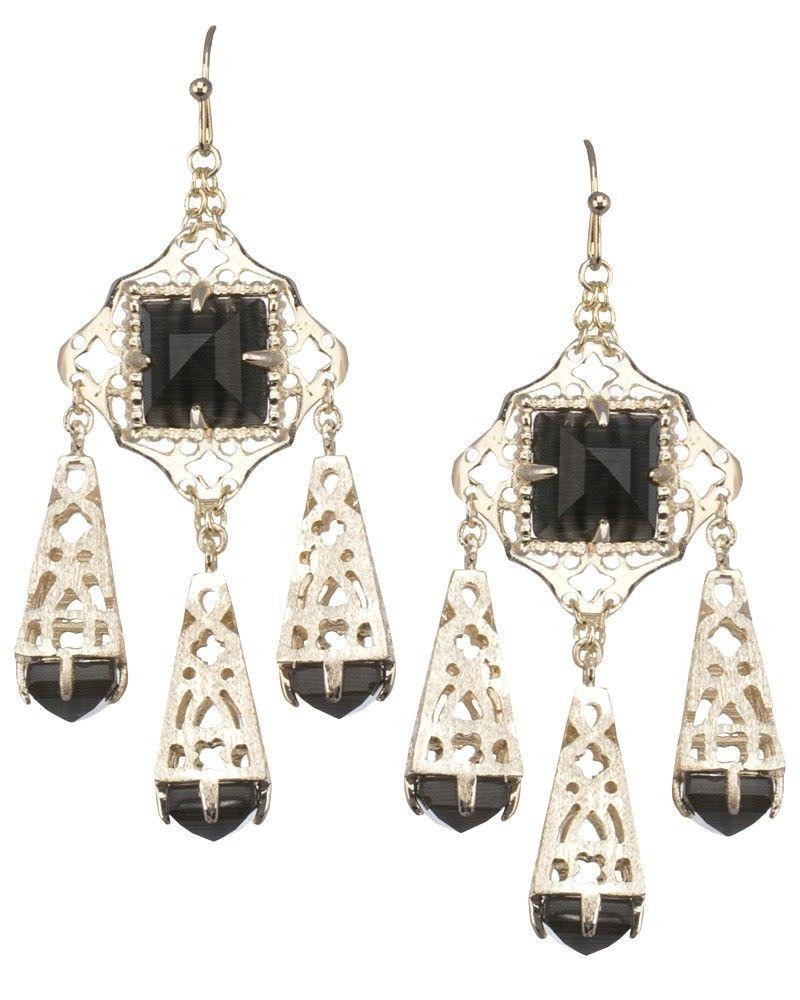 Venita Chandelier Earrings In Black Kendra Scott Jewelry