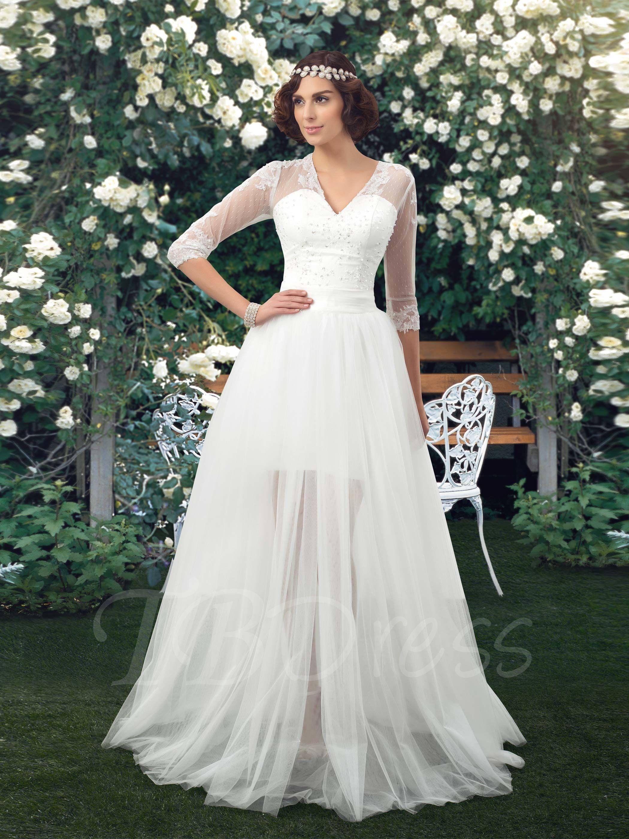 Sleeves Wedding Dress with Detachable Skirt Overlay