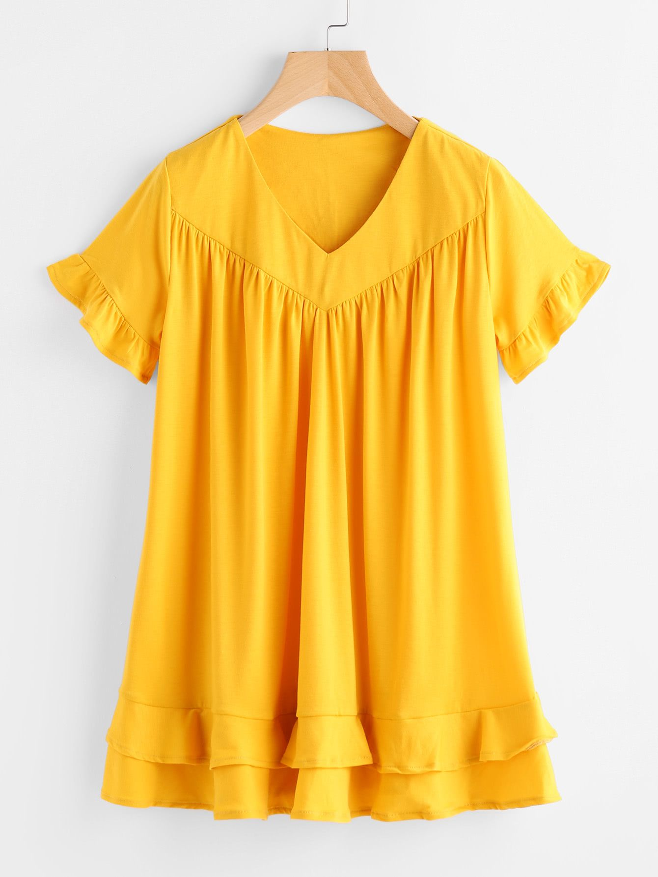 Buy it now. V Neckline Frill Trim Tiered Dress. Yellow Casual Cute Vacation Polyester V Neck Short Sleeve Shift Short Ruffle Plain Fabric has some stretch Summer Sun Dresses. , vestidoinformal, casual, informales, informal, day, kleidcasual, vestidoinformal, robeinformelle, vestitoinformale, día. SheIn  casual dress  for woman.