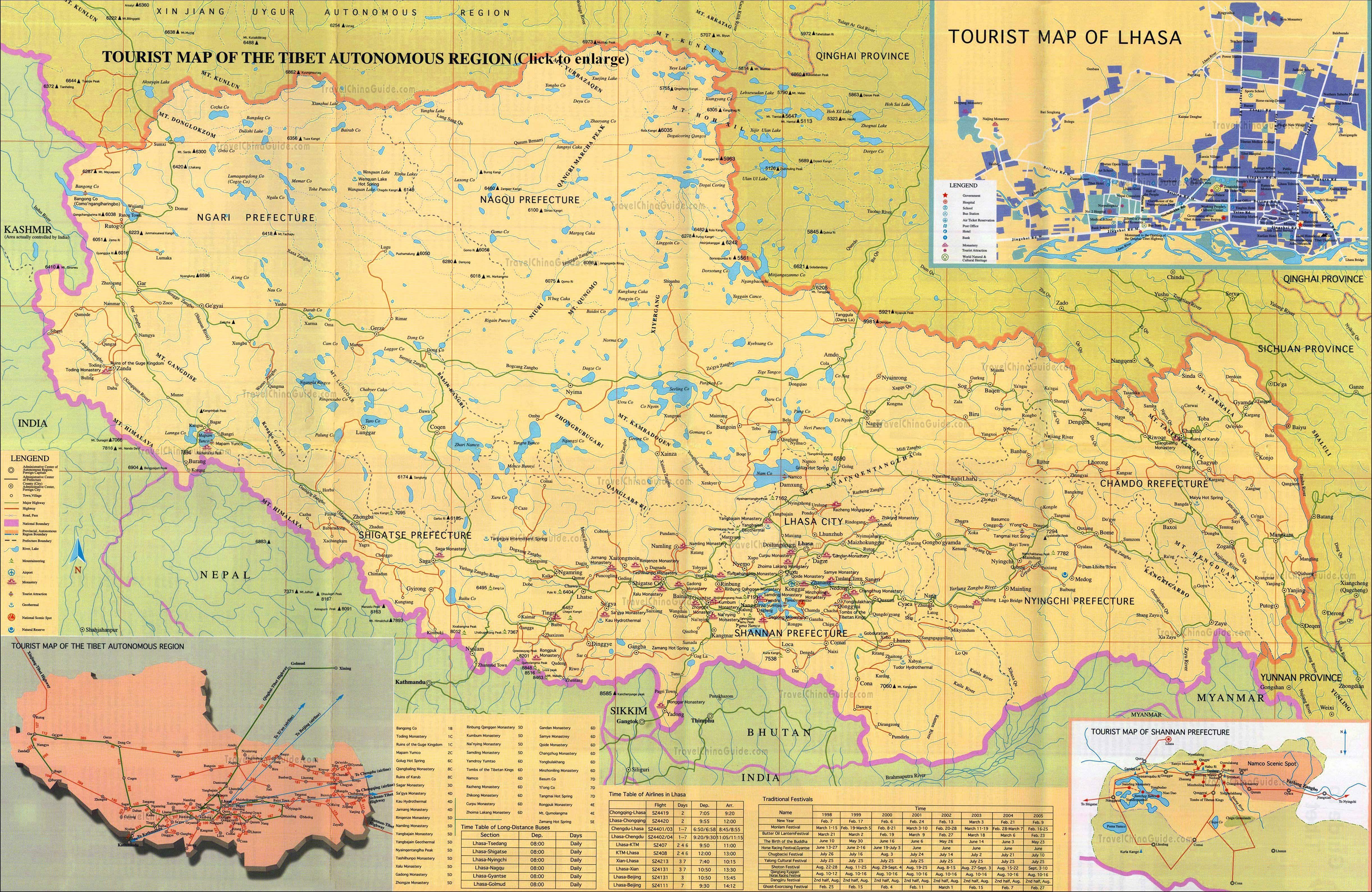Karte Der Sehenswurdigkeiten In Tibet Fur Chinesische Touristen