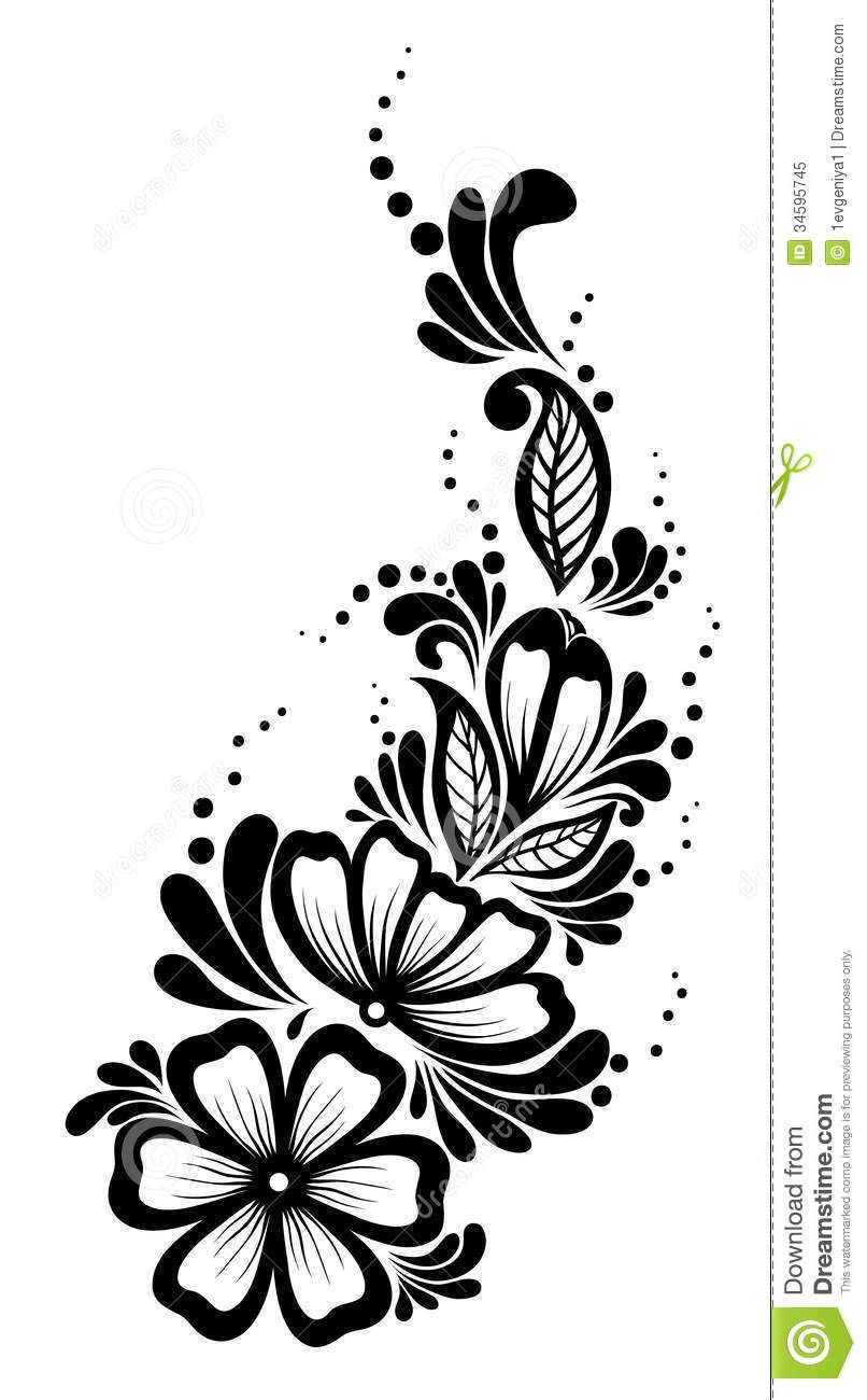 Beautiful Floral Element Black And White Flowers Flower Pattern Design Black And White Flowers Flower Stencil