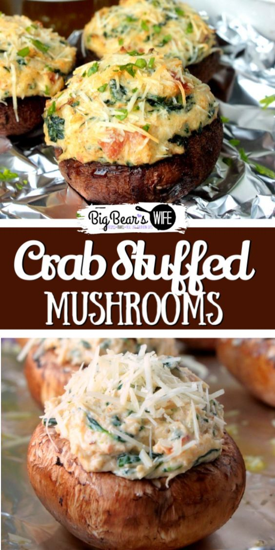 CRAB STUFFED MUSHROOMS These Crab Stuffed Mushrooms are filled with an easy cream cheese, crab and spinach filling! PS. there are NO breadcrumbs in this recipe!