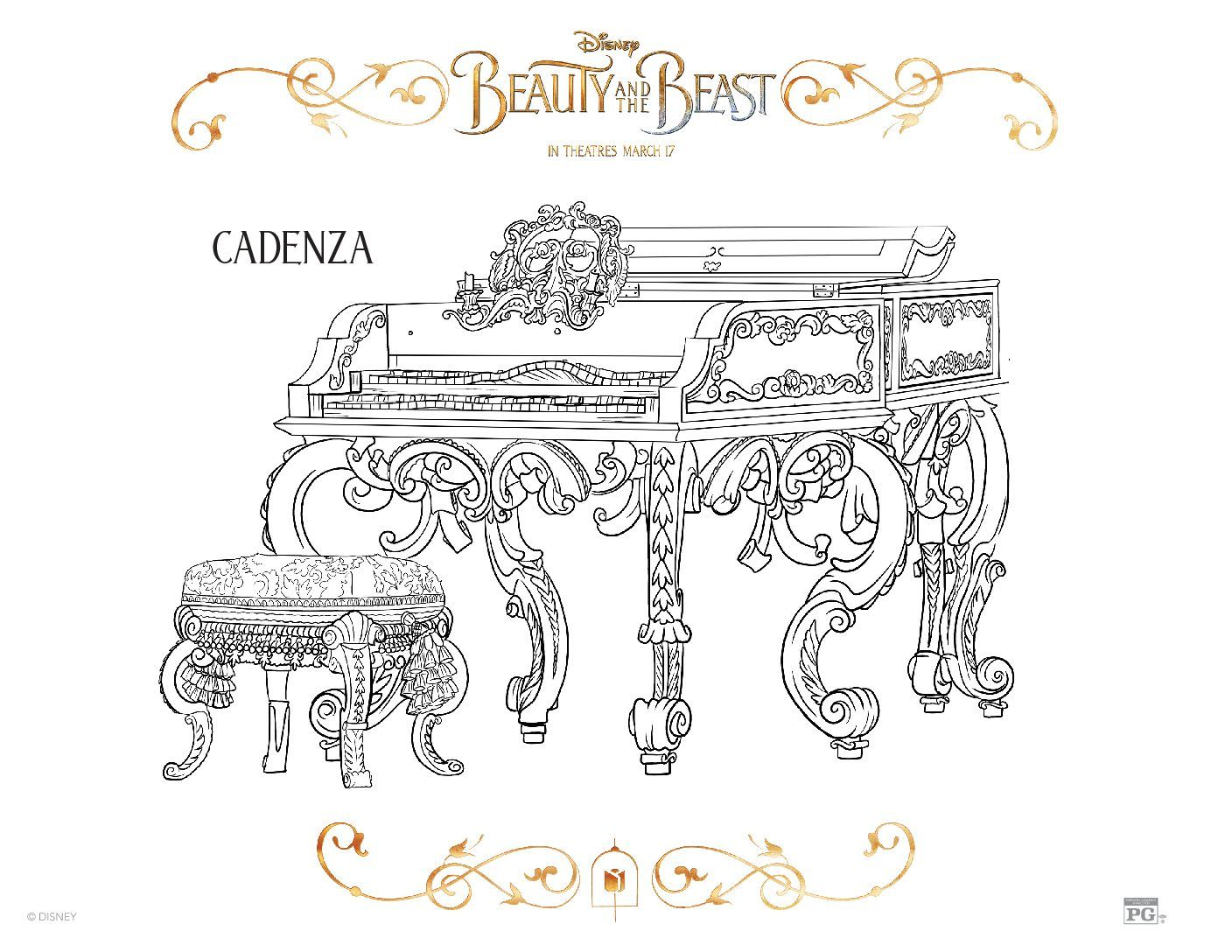 Free Beauty And The Beast Coloring Pages Sheets