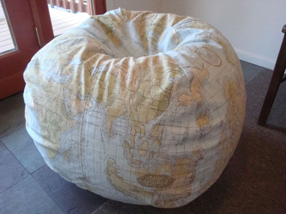 Vintage Style Globe And World Map Bean Bag Chair Ocean Blue Green Made To Order