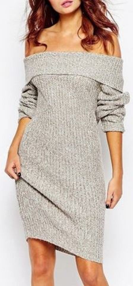 b006369e471 Sexy Low-Cut Off-The-Shoulder Solid Color Long Sleeve Sweater Dress ...