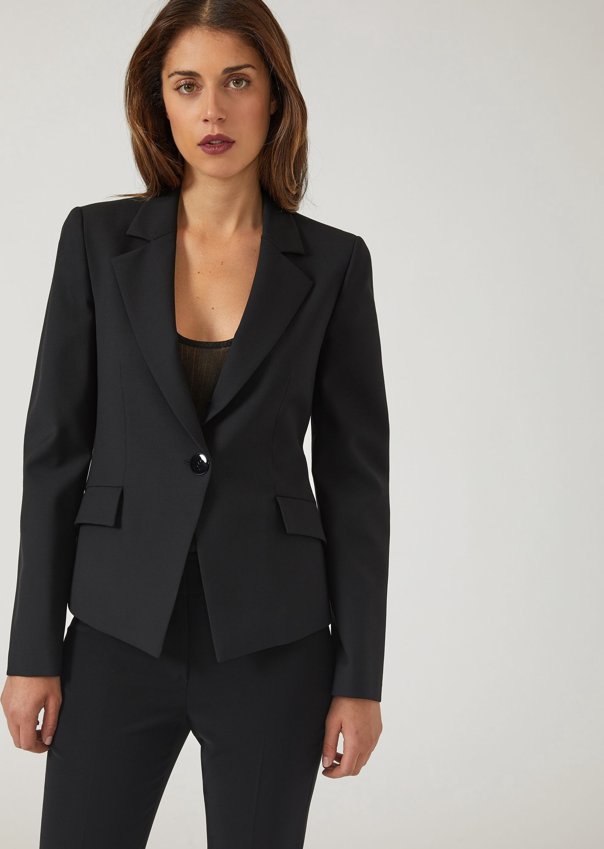 b0bfaf76211 Emporio Armani Slim Fit Single-Breasted Jacket In Stretch Virgin Wool - Navy  Blue 10
