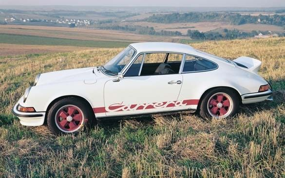 """The ducktail spoiler was a hallmark of the 1973 Carrera RS models. The fiberglass rear deck with an aluminum frame was actually an option on models outside Germany where government safety officials determined the hard edges of the tail were not """"pedestrian friendly."""" Porsche AG"""