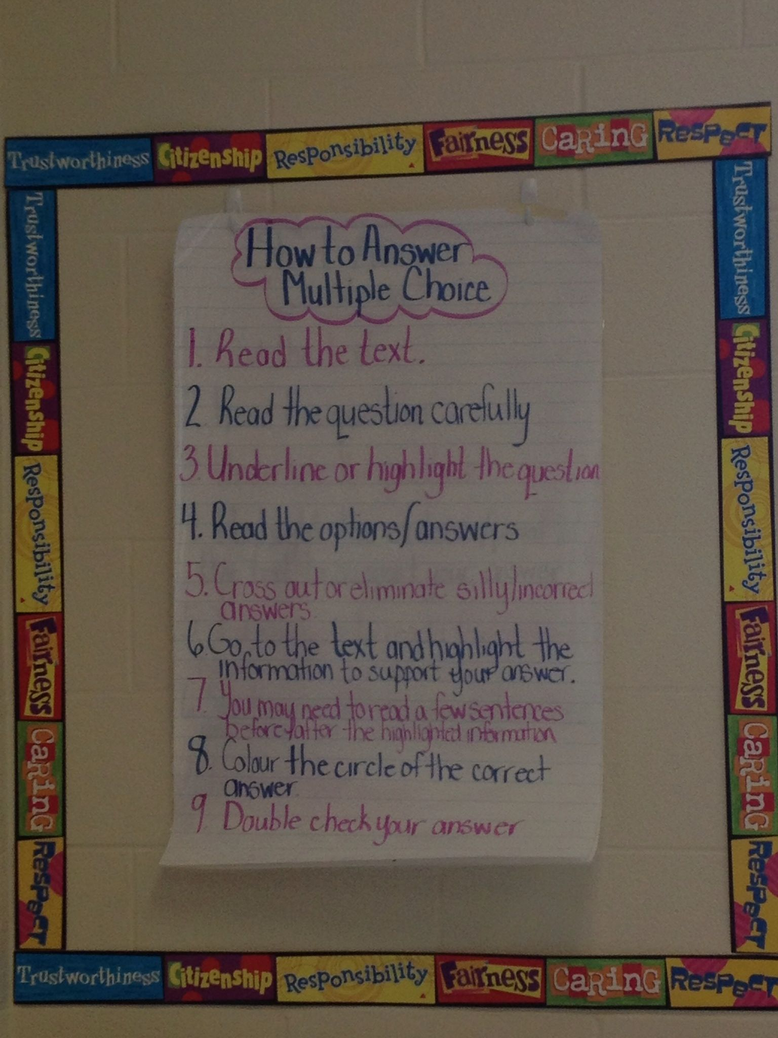 Grade 3 Eqao Co Created Anchor Chart For Answering Multiple Choice