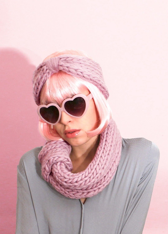 Knitting Kit Petite Blueberry Snood Headband  61d8c28131f