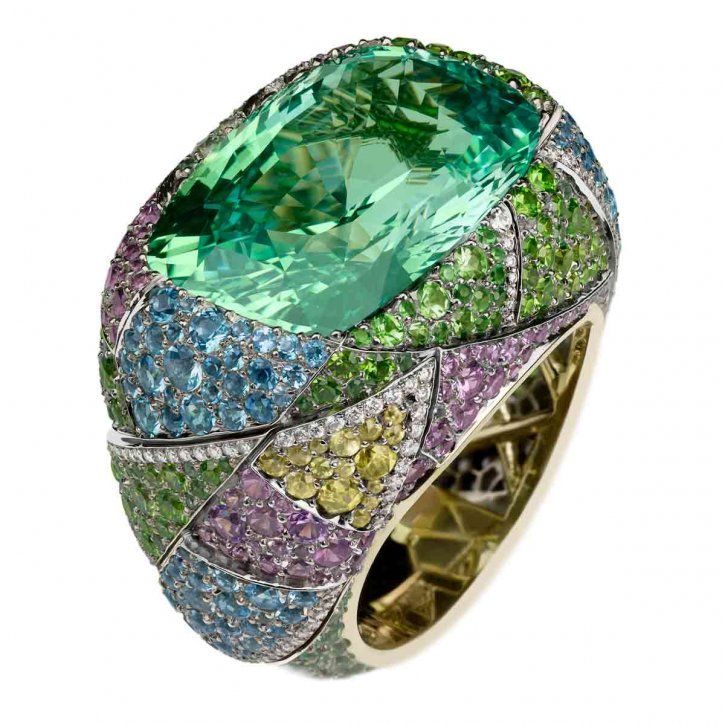 Kaleidoscope Ring by Fabergé The large stone looks like a beautiful Caribbean ocean