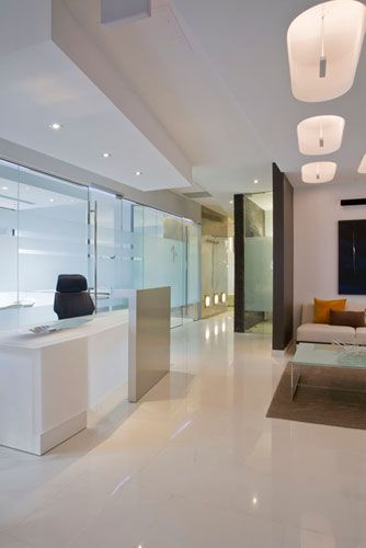 clean and modern. Maybe lacquer floors will look nice  dentist waiting area