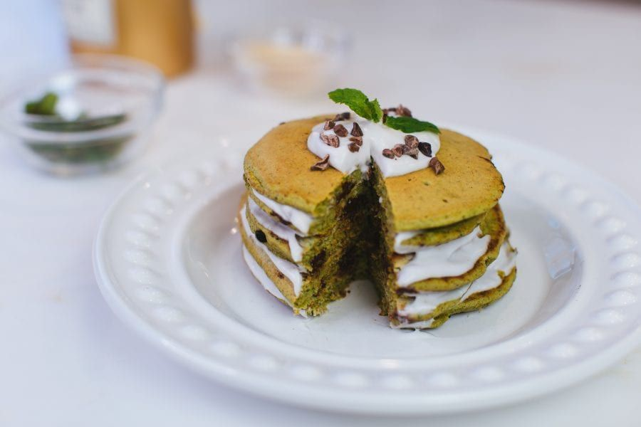 Mint Chocolate Chip Pancakes - Love Sweat Fitness -  Mint Chocolate Chip Pancakes – Love Sweat Fitne...