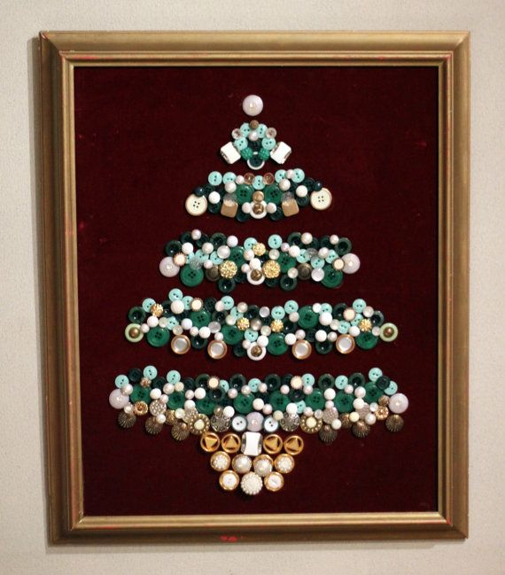 Framed Button Christmas Tree Button Crafts Christmas Crafts Holiday Diy