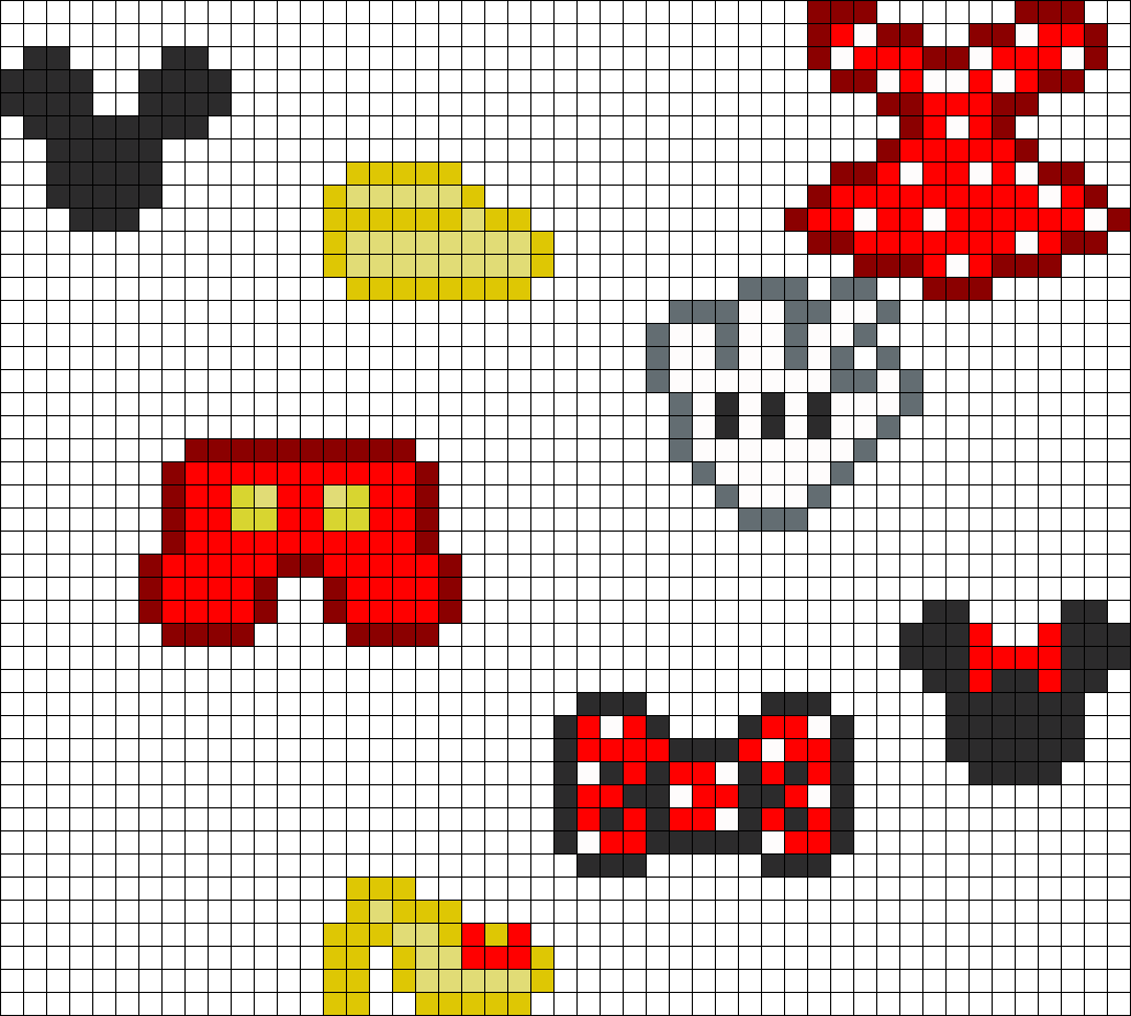 Mickey And Minnie Clothing And Head Charms bead pattern | perler ...