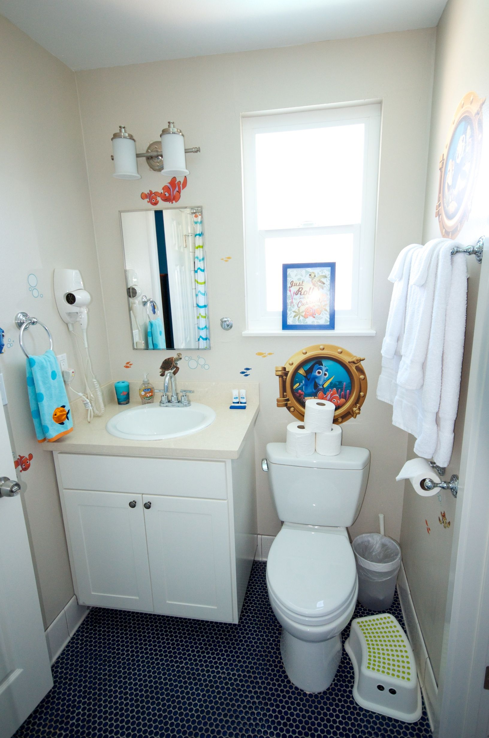 Disney themed Finding Nemo bathroom Look at the Penny round cobalt
