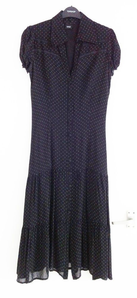 Clearly inspired by Spain  Mango size 12 black  white polka dot tiered  button-front midi tea dress. 73f748fcc