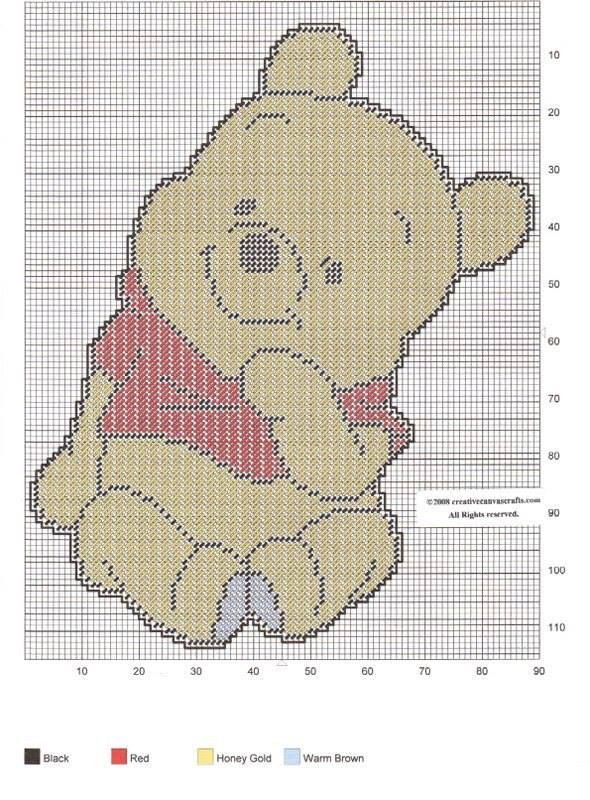 BABY POOH THINKING by CREATIVECANVASCRAFTS.COM | plastic canvas ...