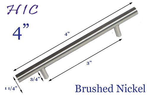 """3"""" x 4"""" Solid Bar Pull Brushed Nickel Kitchen Cabinet ..."""