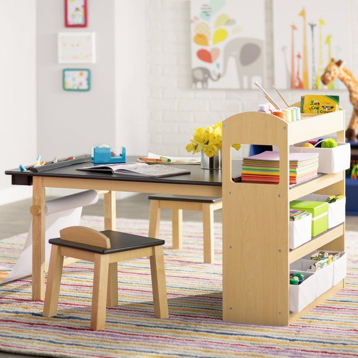Emilio Kids 3 Piece Arts And Crafts Table And Chair Set Kids