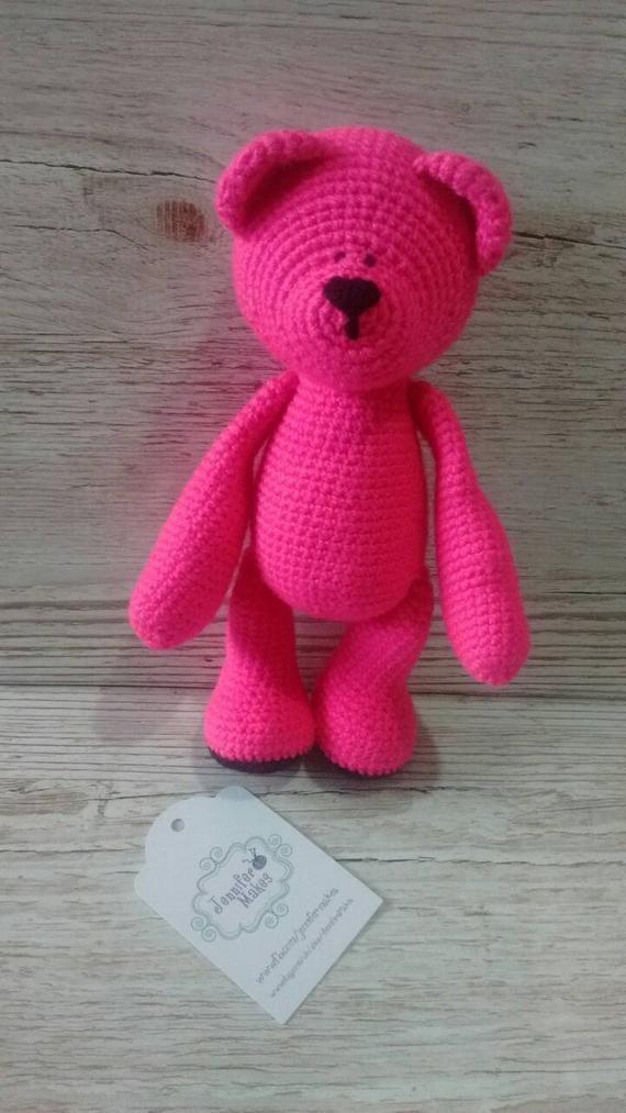 Pink Teddy Bear * Pink Teddy Bear * Crochet Bear * Bright Pink * Baby Gift * Birthday * Children #crochetteddybears