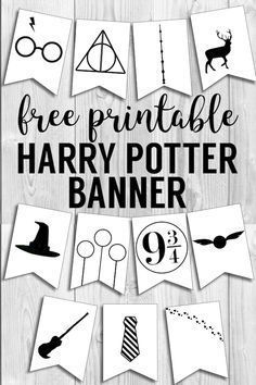 Harry Potter Banner Free Printable Decor Harry Potter Hogwarts icon banner for party decor  bedroom decor or birthday party decorations