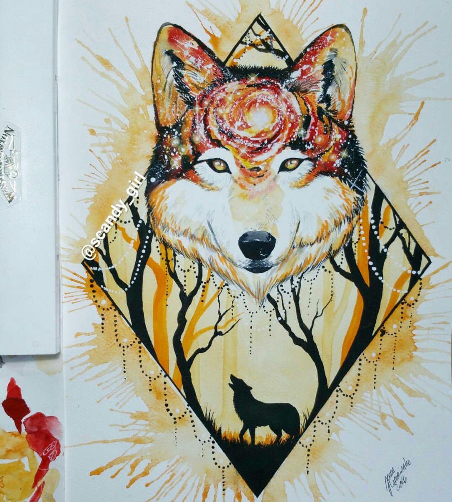 Watercolour Art By Jonna Scandy Girl Animal Art Art Wolf Art