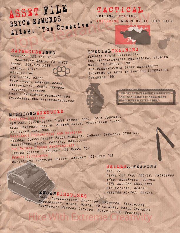 Spy inspired resume via crumpled paper Resumes Pinterest Style