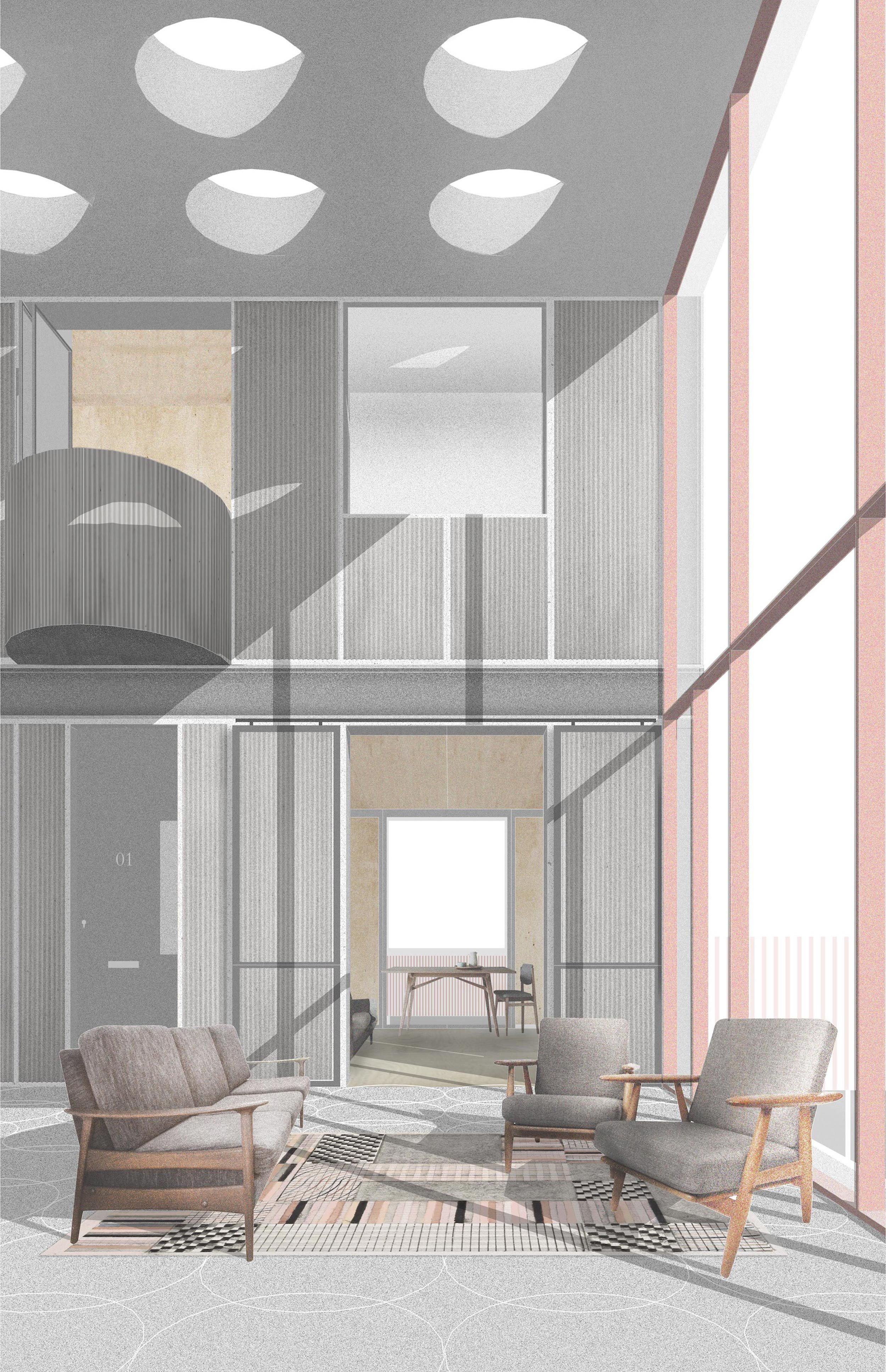 Vppr artist housing arch collage render co for Idee architettura interni