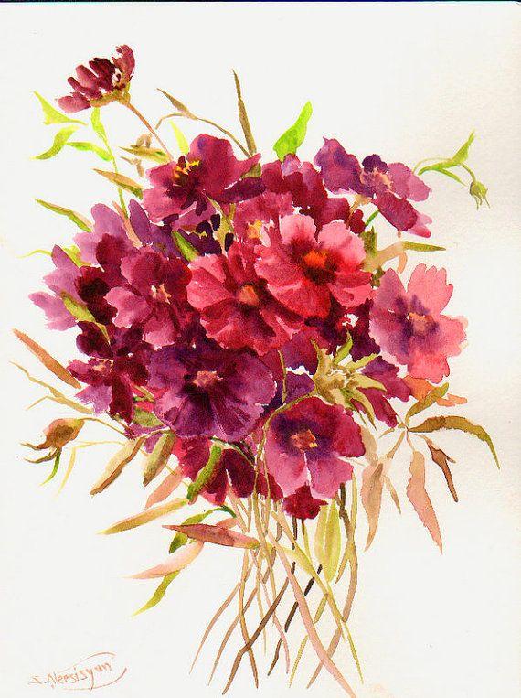 Deep Red Purple Flowers Original Watercolor By Originalonly