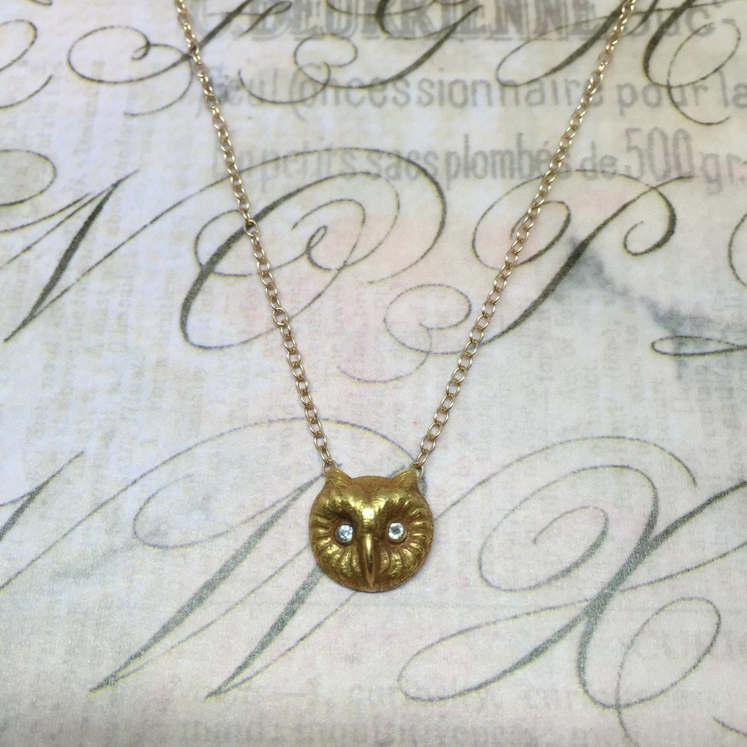 Antique 14k Victorian Owl Necklace with Diamond Eyes by DaintyBySky on Etsy