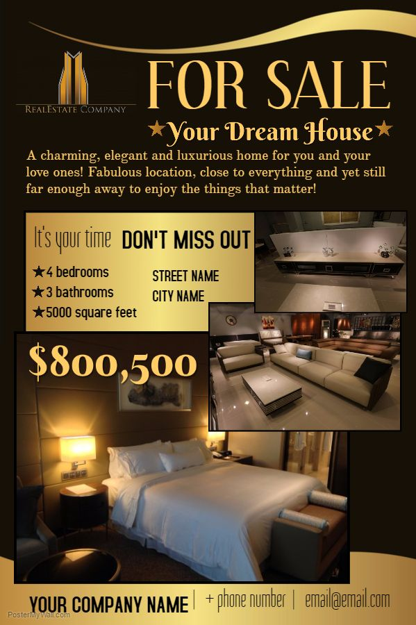 Real Estate Poster - Dream House Click on the image to customize - house for sale flyer template