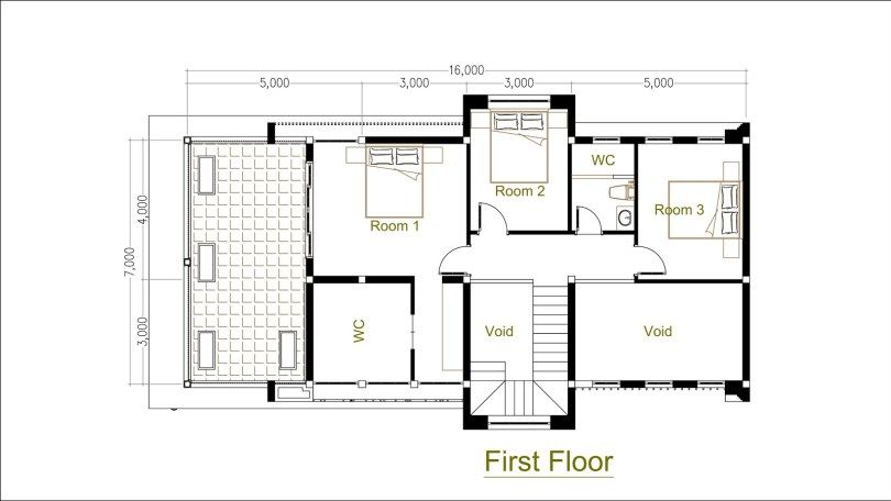 3 Bedrooms Modern Home Plan 7x16m Sam Phoas Home Modern House Plans Bedroom House Plans House Plans