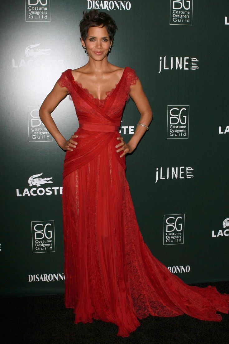 9c31228b85e Halle Berry red dress at Costume Designers Guild Awards red carpet. Sheer red  lace celebrity A-line long evening prom dress, V-neckline and V-back.