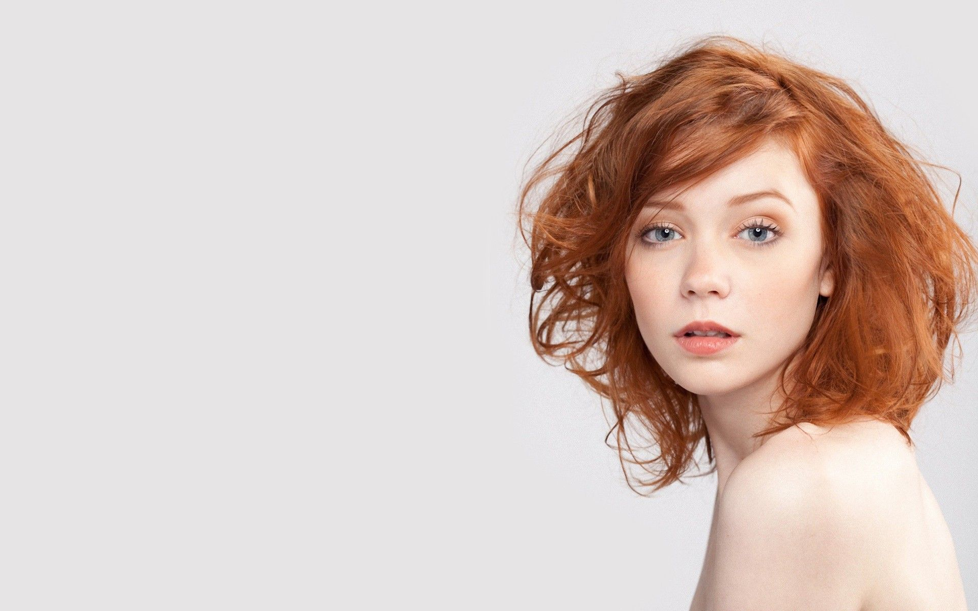 women minimalistic redheads models freckles simple background white ...