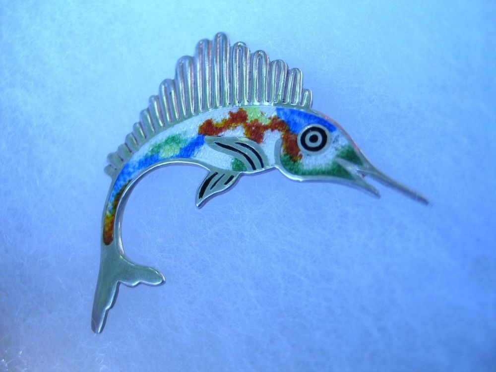 Jeronimo Fuentes Mexico 925 Sterling Silver Enamel Fish Brooch Pin Hallmarked #JeronimoFuentes