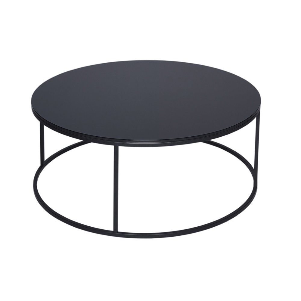 Gillmore Black Glass And Black Metal Contemporary Circular Coffee