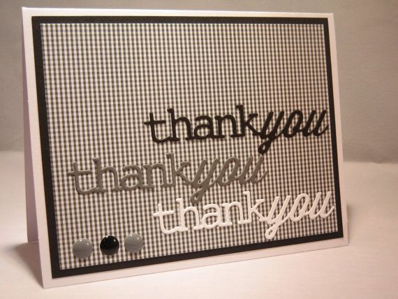 Handmade Thank You Card Masculine Thank You Card By Apaperaffaire