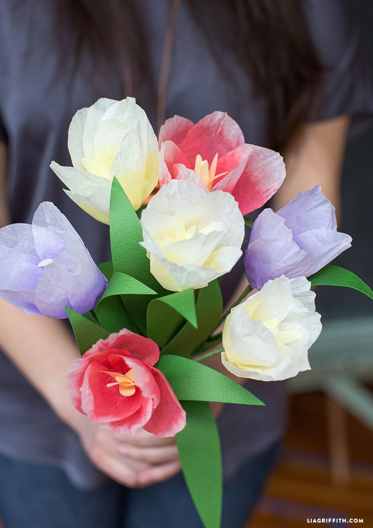 Ombre Tissue Tulips For Spring Tissue Paper Flowers Flowers