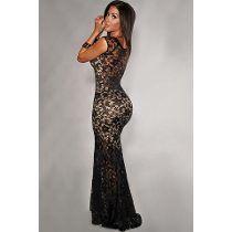 b01103ff8b01 Vestido Largo En Encaje Con Fondo Color Piel | Vestidos De Fiesta De ...