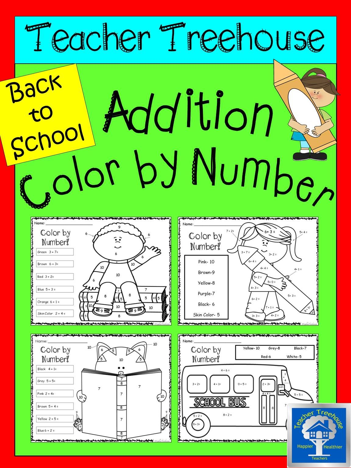 Addition Color By Numbers Worksheets