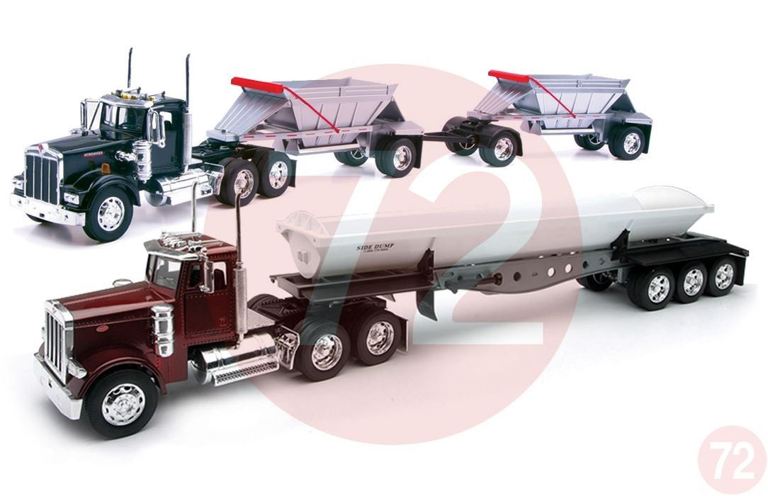 Kenworth W900 Double Belly Dump And Peterbilt 379 Side Toy Trucks 1 32 Scale By New Ray Toys