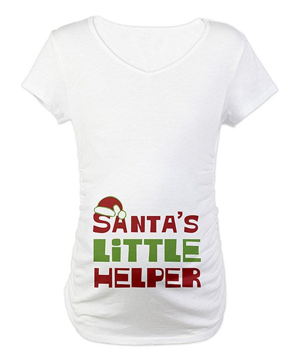 e75fe4f8d1598 Take a look at this White 'Santa's Little Helper' Maternity Tee - Women on  zulily today!